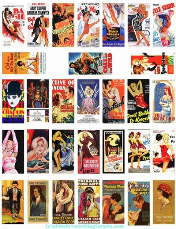 "vintage movie posters domino collage sheet domino clipart digital download  1"" x 2"" inch domino graphics vintage images printables"