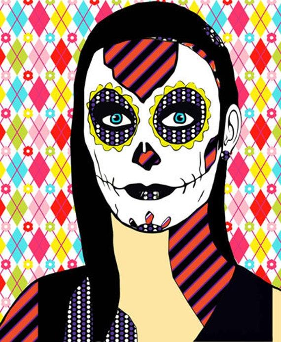 skull girl Day Of The Dead original art abstract pop art sugar skulls skeleton art Dia de los muertos original digital art pink red blue