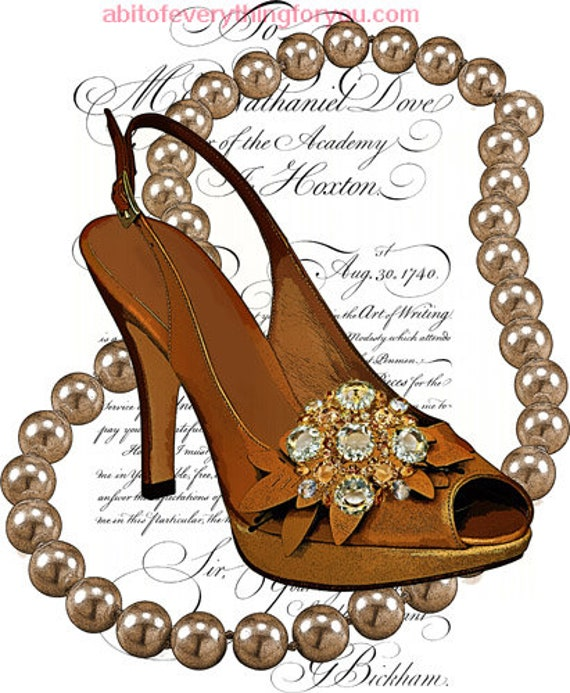 high heel shoe pearl necklace printable art clipart png download digital image graphics downloadable fashion art home decor living room