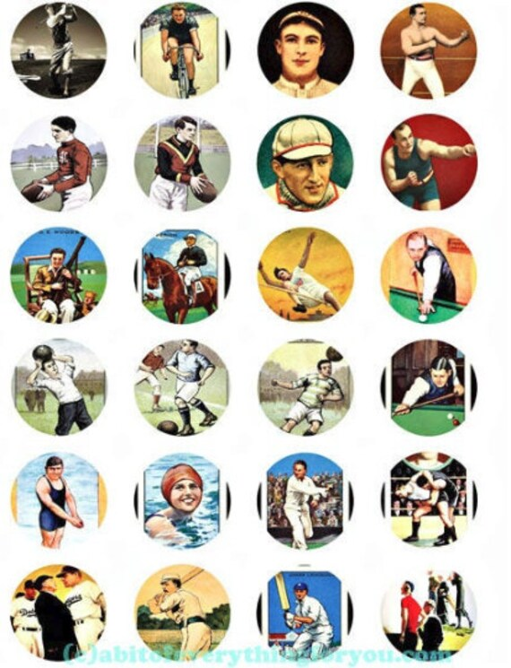 printable digital collage sheet vintage sports clipart 1.5 inch circles downloadable football boxing images pendants diy jewelry making