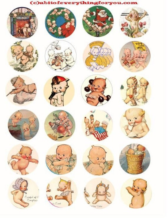 kewpie dolls art clipart clip art digital download collage sheet 1.5 inch circles graphics vintage images pendant jewelry making printables