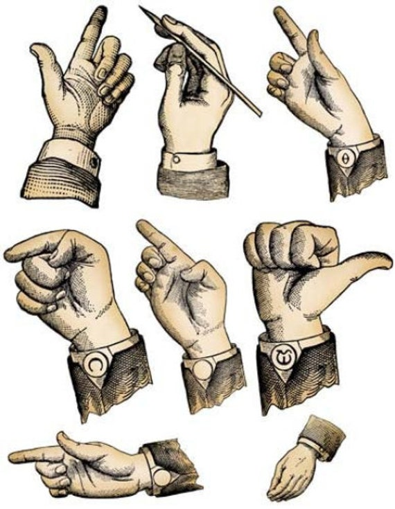 mens hand gestures positions clipart digital download collage sheet fingers anatomy images cut out die cuts craft printables
