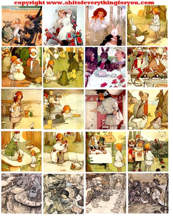 antique alice in wonderland art clip art digital download collage sheet 2 inch squares graphics images printables for pendants pins magnets
