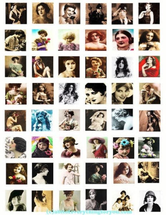Printable Downloads VINTAGE WOMEN PHOTOGRAPHS Digital Collage Sheet 1x1 inch squares downloadable old antique photos images graphics
