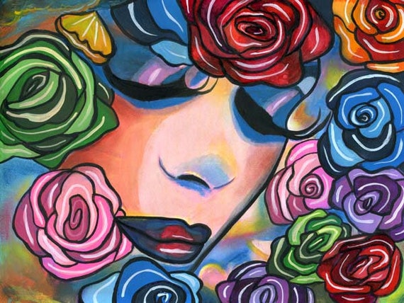 Lady Roses face flowers abstract original art painting modern surreal woman colorful makeup beauty floral acrylics artwork