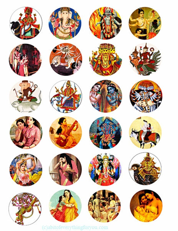 "printable hindu krishna gods goddesses collage sheet women men clipart digital download  1.5"" inch circle graphics India deities images"