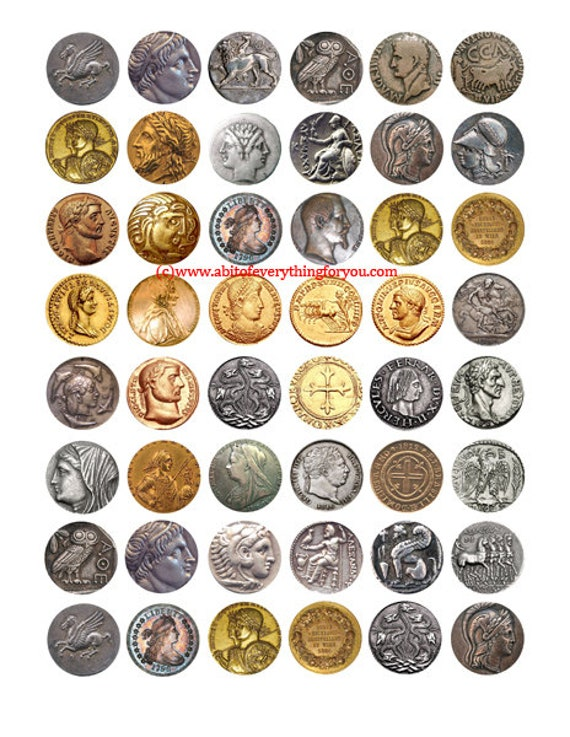 antique coins downloadable collage sheet jewelry pendants digital download 1 inch circles graphics money images craft printables pendants