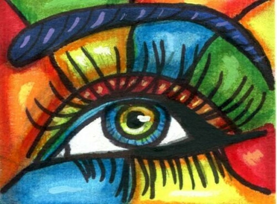 womans eye rainbow abstract aceo atc original art drawing ink miniature artwork