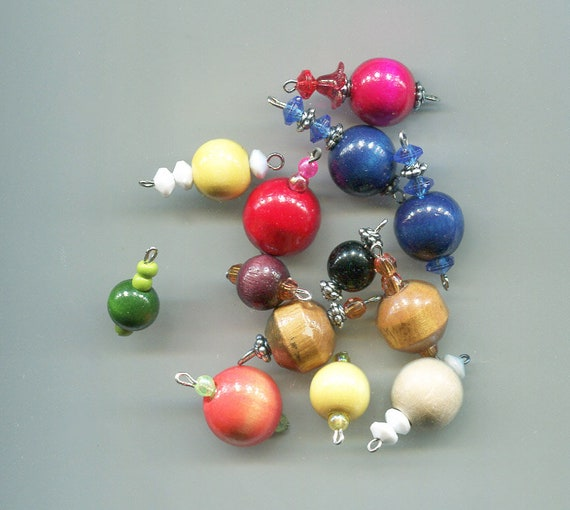 13 wood bead pendants drops mixed lot charms wooden ball shapes jewelry supplies