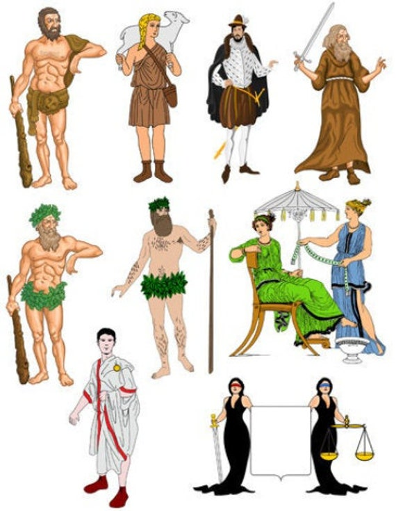fantasy fairy tale cartoon people collage sheet png jpg printable art clipart instant download digital image graphics