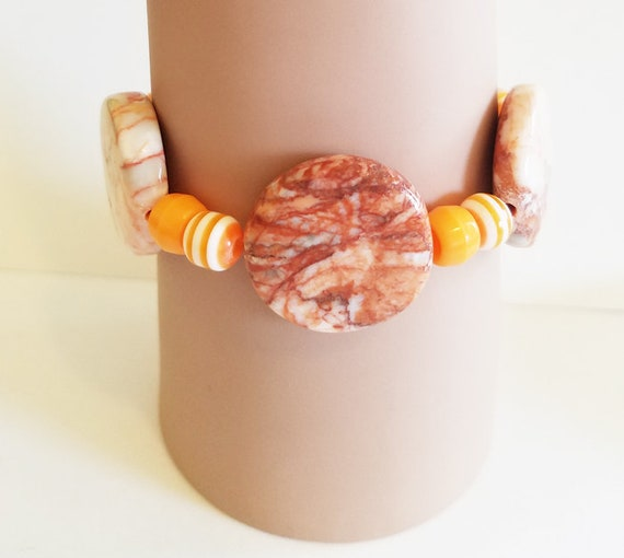 natural brown and orange large stone bracelet beaded stretch plastic gemstone handmade jewelry