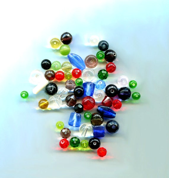 GLASS BEADS LOT loose round assorted glass bead faceted, catseye mixed lot 56 piece jewelry making supply