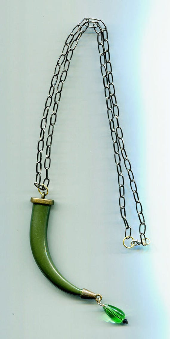 green horn necklace large horn pendant cornicello jewelry large pendant necklace black chain bead drop