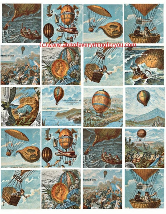 hot air balloons flight clip art digital download collage sheet 2 inch squares downloadable vintage 1800s graphics images printable paper