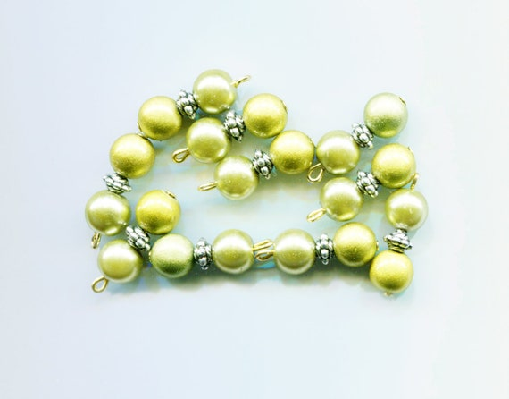 green pearl drop charms miracle beads acrylic glass beads bead pendants 10pc jewelry making supplies