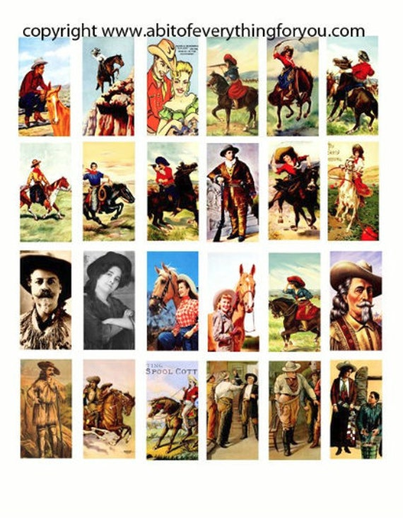 """cowboys cowgirls clipart vintage art digital download domino collage sheet 1"""" x 2"""" inch graphics images printables for pendants pins magnets"""
