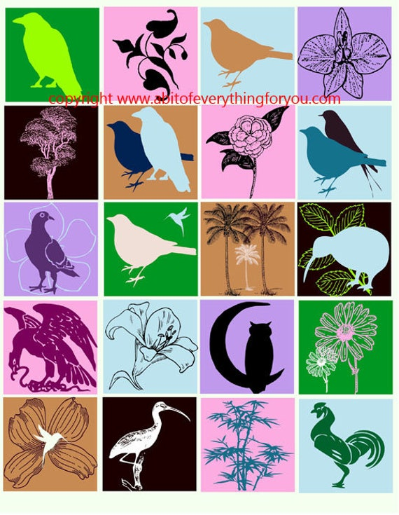 animal plant flowers silhouette clip art digital download collage sheet 2 inch squares graphics images printables for pendants pins magnets