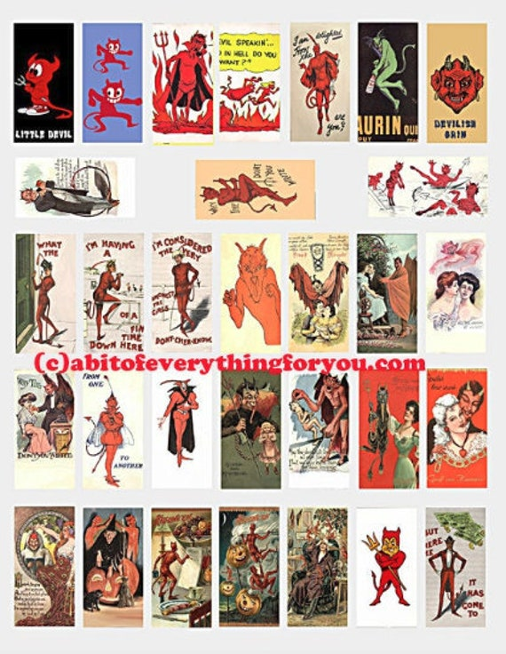 "devils demons vintage art postcards domino collage sheet 1"" x 2"" inch images digital download graphics clipart domino pendant printables"