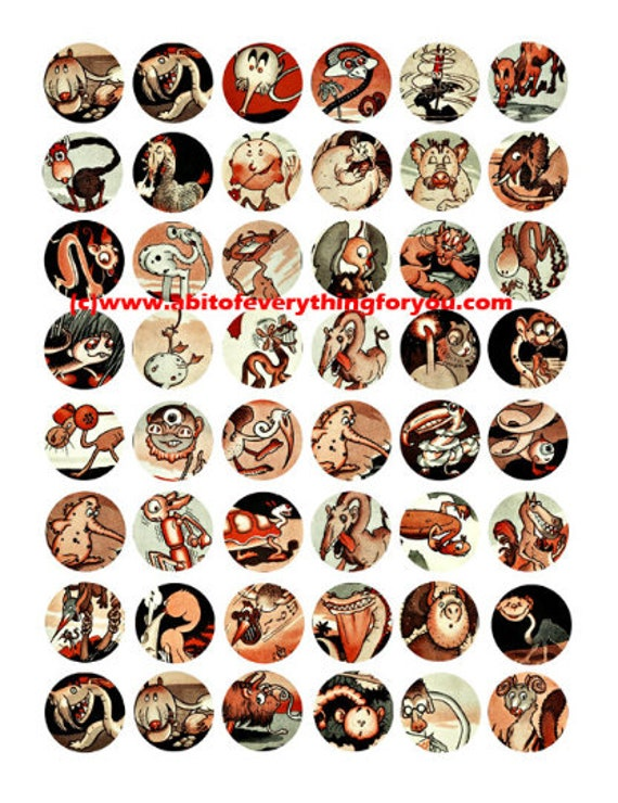 """creatures monsters aliens clip art  1"""" inch circles digital download collage sheet graphics images printable pendant magnets"""