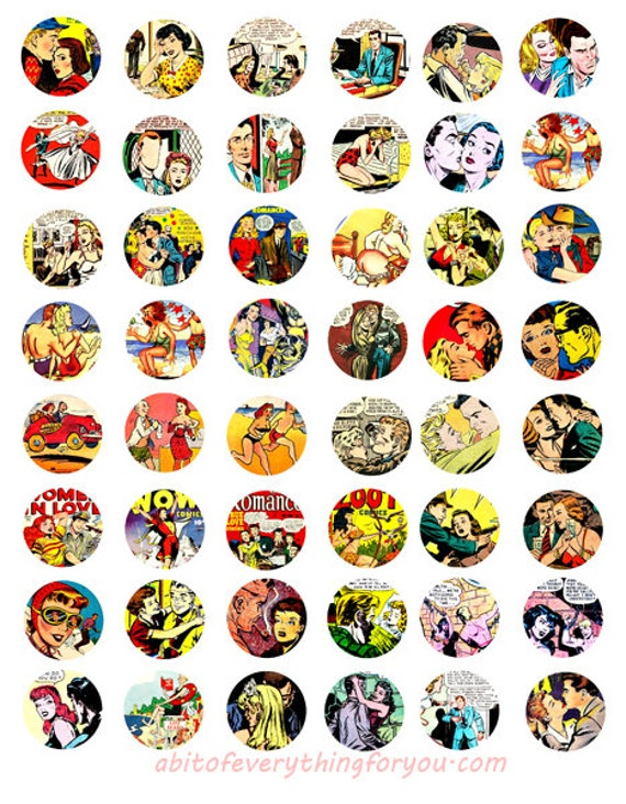 vintage comic book art men women collage sheet comics 1 inch circle faces clipart digital downloadable printable images DIY Jewelry making