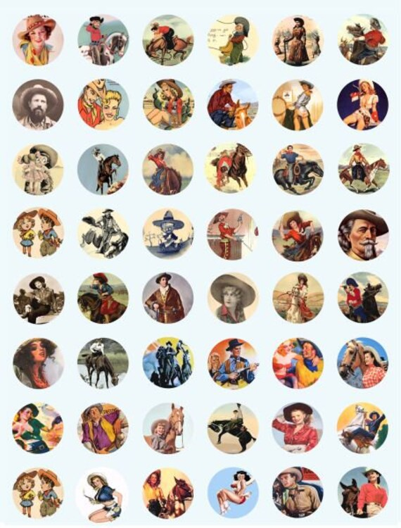 vintage cowboys cowgirls art collage sheet 1 inch circles clip art digital download graphics images art old photos printables