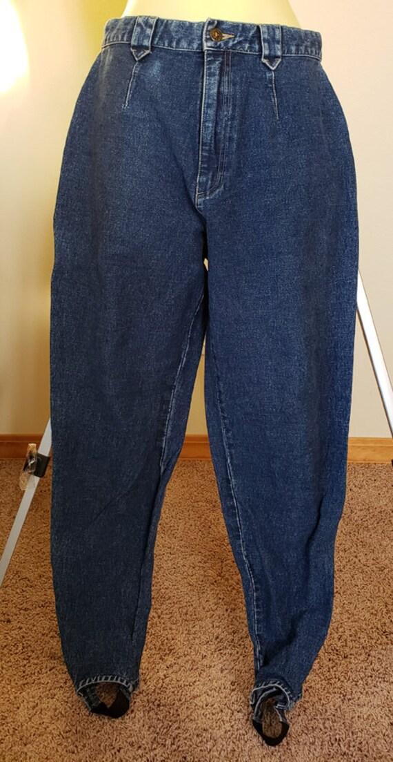 vintage womens stirrup blue jeans pants size 10 med 28 x 32 Lizwear