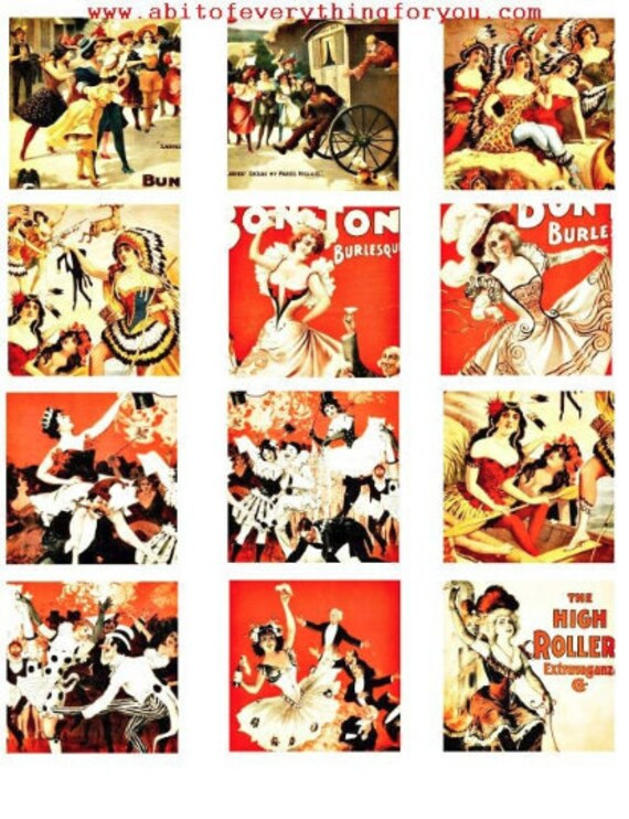 1800s burlesque dancers strippers vintage art clip art digital download collage sheet 2.25 inch squares graphics images printables