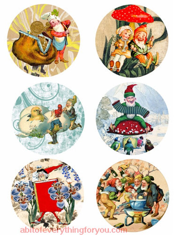 vintage elf gnome dwarf clip art digital download collage sheet 3.5 inch circles vintage art graphics downloadable images printables
