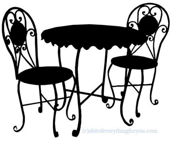 black bistro cafe patio furniture printable art clipart png download digital image graphics digital stamp silhouette artwork