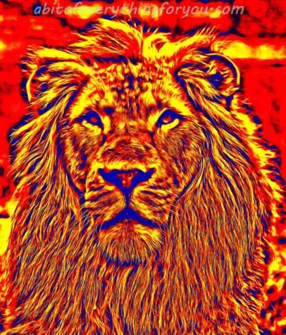 abstract fire lion Animal Print nature Wall Art living Room home decor Printable art Gift Digital Download wildlife downloadable artwork