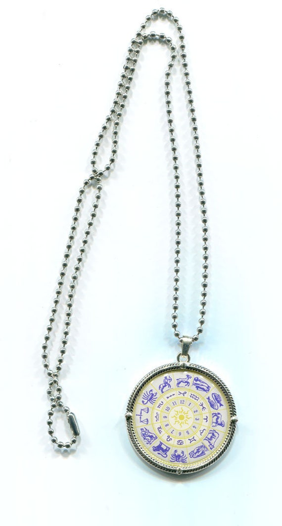ZODIAC 12 signs pendant NECKLACE ball chain birthday symbol jewelry unisex astrology horoscope jewelry