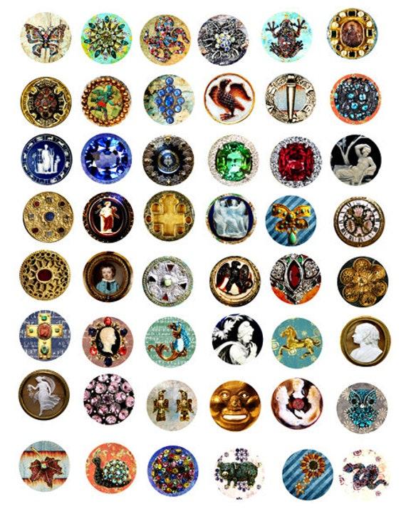 vintage antique jewelry collage sheet 1 inch circles clipart digital downloadable printable images bottlecaps pendants diy craft
