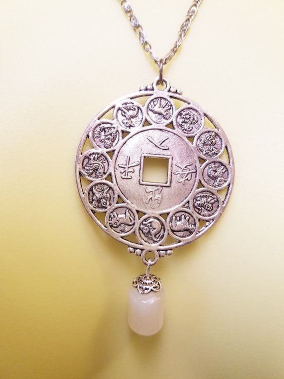 chinese ZODIAC necklace medallion pendant NECKLACE horoscope necklace astrology silver metal birthday sign jewelry handmade