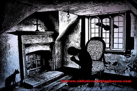 the fallen man praying creepy printable art print original abstract art digital download art graphics images horror goth scary artwork