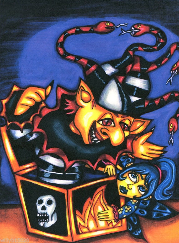 toy art Evil jack in the box print original painting wicked gothic fantasy dark fairy tale magic artwork drawings horror folk modern