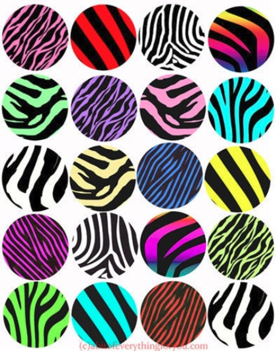 printable digital collage sheet zebra stripes animal patterns clipart 2 inch circles downloadable images pendants diy jewelry making crafts