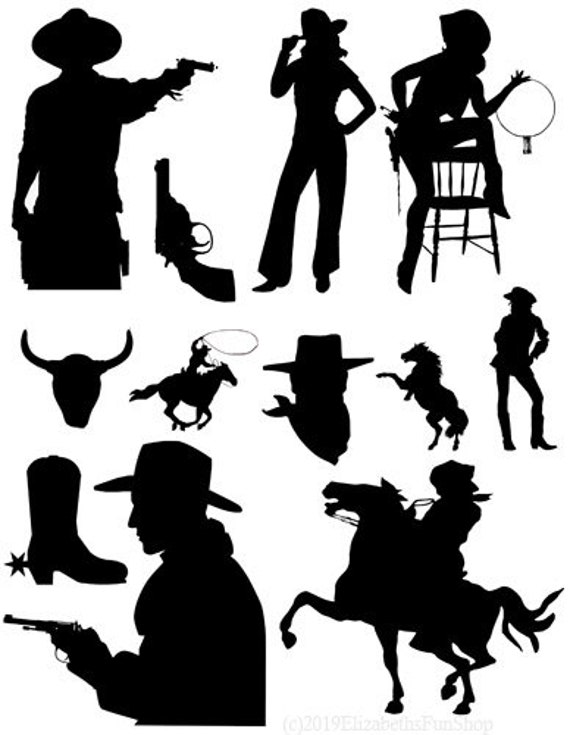 cowboy cowgirl silhouettes clipart png jpg printable collage sheet die cuts country western digital download image horse rodeo graphics