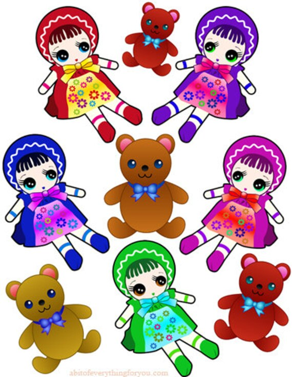 teddy bears baby doll toy crafts clipart digital download images die cuts cut outs digital paper kids craft printables