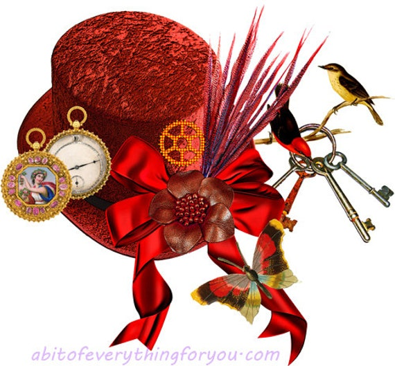 red top hat birds pocket watch clipart png jpg printable steampunk fashion art download digital image downloadable graphics