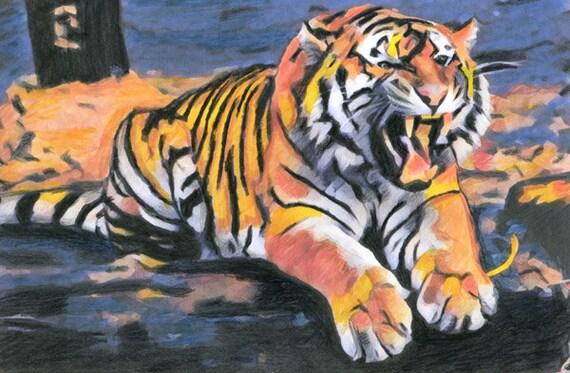 ORIGINAL ABSTRACT tiger colored pencil drawing jungle safari animals wildlife art nature illustration by Elizabeth