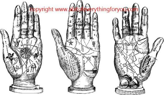 printable fortune teller art palm reading hands clipart png download digital vintage image graphics digital stamp line art celestial artwork