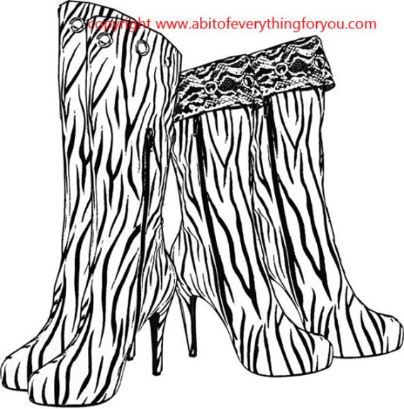 zebra pattern womens boots Coloring Page fashion art printables png clipart download Colouring Pages line art Craft Activity digital stamp