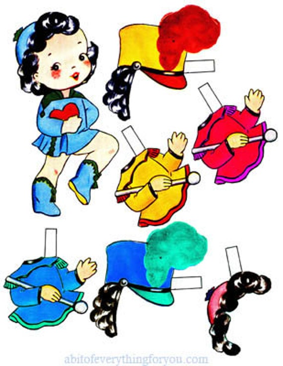school band girl paper doll and clothes printable digital download image graphics childrens paper crafts