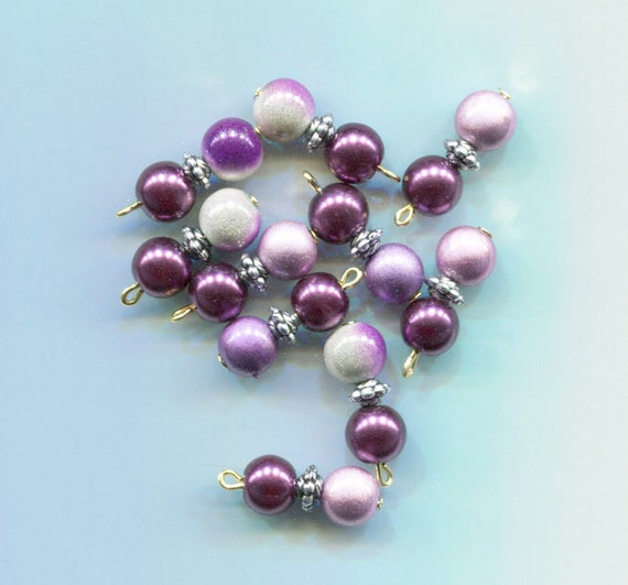 purple pearl drop charms miracle beads acrylic glass beads bead pendants 10pc jewelry making supplies