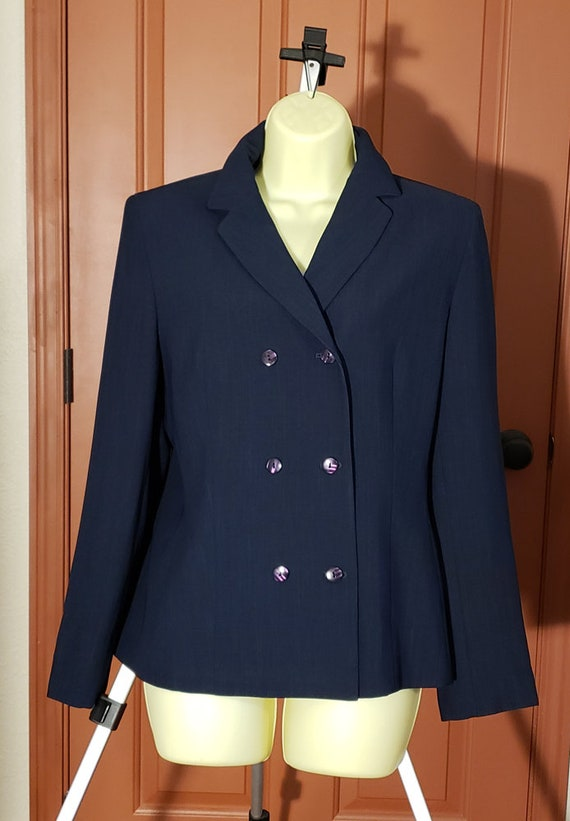 dark blue blazer top womens size 10 medium business clothes vintage