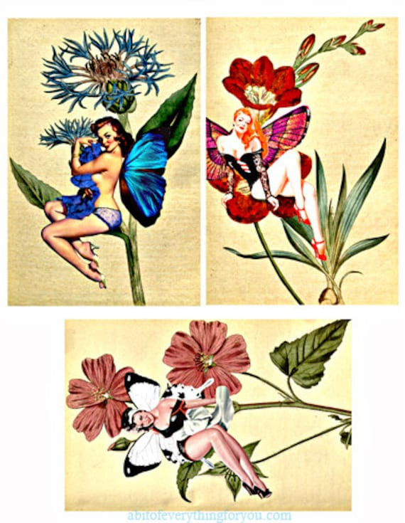 """pinup girl garden fairies flowers digital download collage sheet altered art clipart 4""""x6"""" inch images downloadable graphics printable cards"""