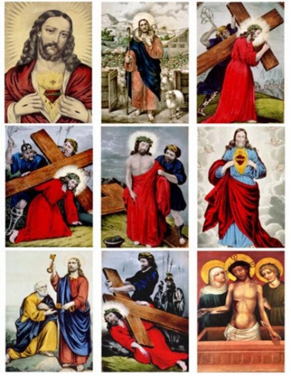 "collage sheet jesus christ messiah vintage art digital download 2.5"" x 3.5"" inch graphics religious art images printables"