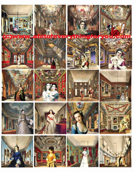 maidens damsels castle rooms downloadable collage sheet clip art instant digital download 2 inch squares graphics images craft printables
