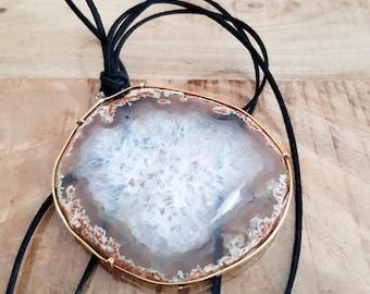 necklace hyaline quartz big slice geometric pendant