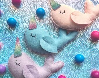 NARWHAL - bunting - garland - pastel - rainbow - handmade - banner